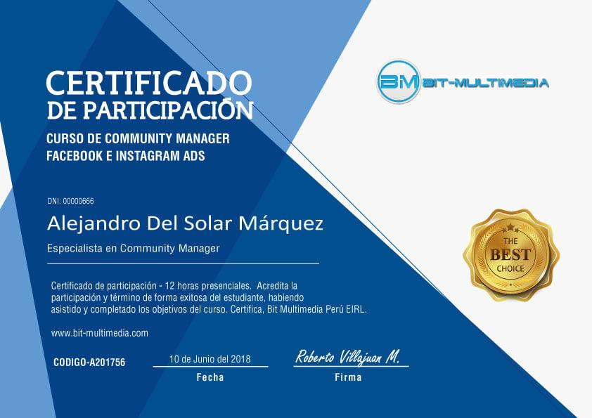 Certificado curso Community Manager Facebook e Instagram Lima Peru